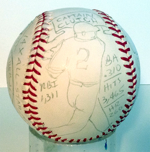 A pencil drawing up at bat gets the Fazzino baseball art process started