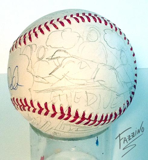 A pencil drawing sliding into base on a Fazzino baseball