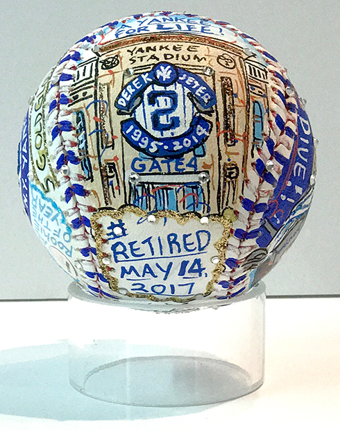 One side of the final baseball art by Fazzino showing Derek Jeter's retirement date