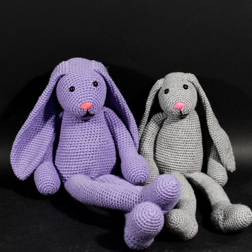 Purple and grey crocheted bunny rabbits | Christina's Crocheted Characters