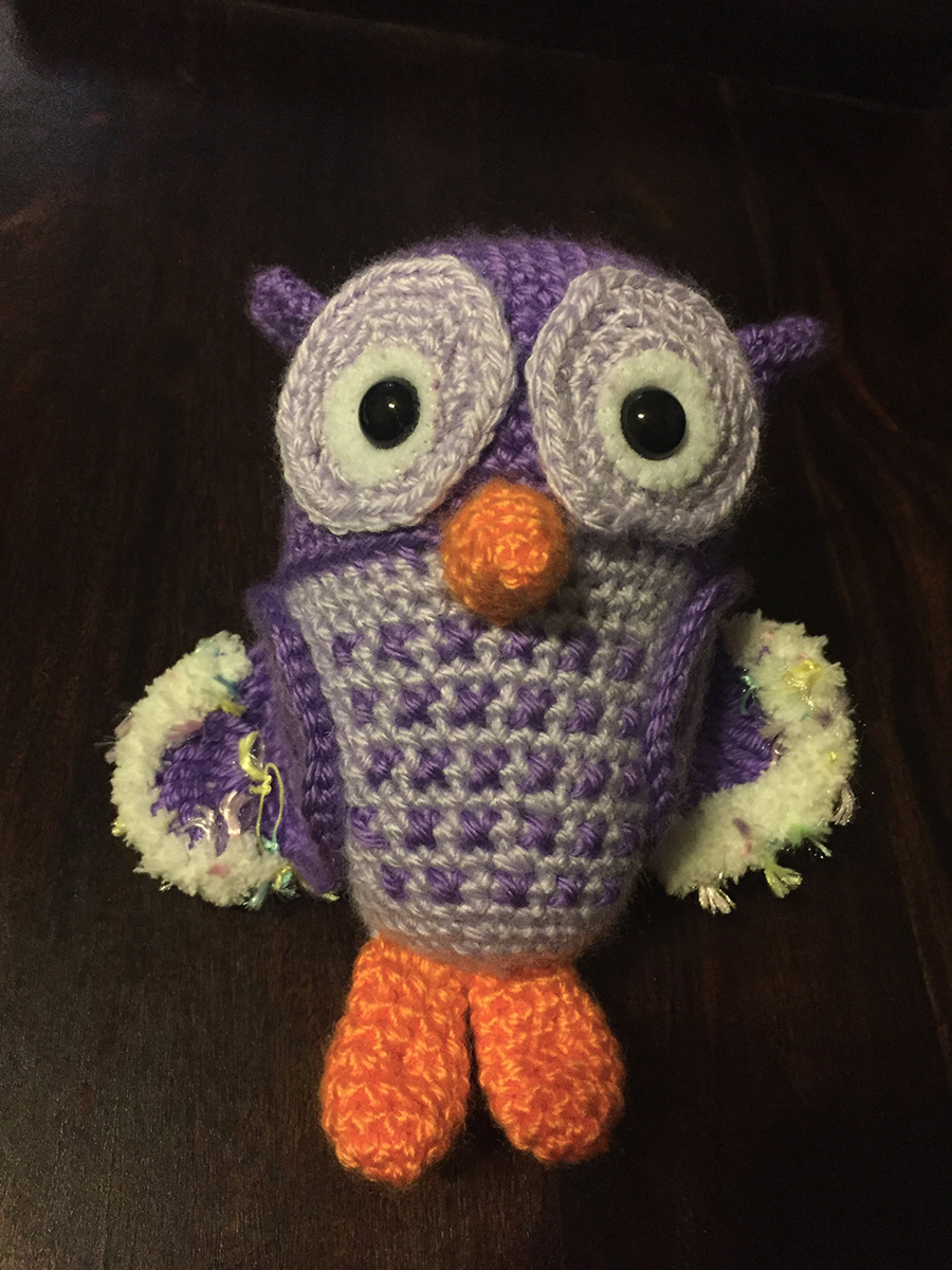 Purple and grey crocheted owl with orange feet and orange beak | Christina's Crocheted Characters