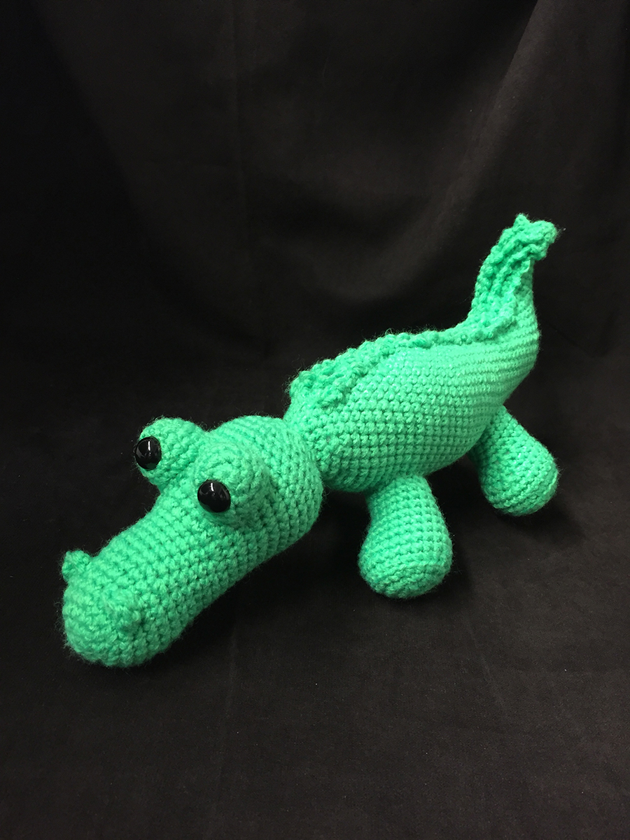 Green crocheted alligator with black bead eyes | Christina's Crocheted Characters