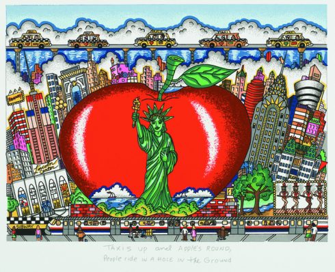 """Taxi's Up and Apples Round, People Ride in the Hole in the Ground"" by 3d pop artist Charles Fazzino"