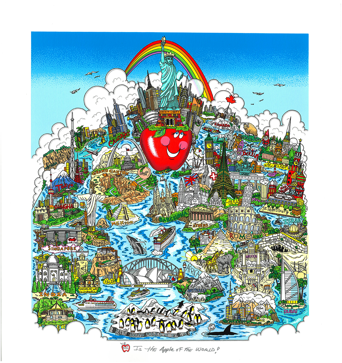 NYC is the Apple of the World 3D Pop Art by Charles Fazzino