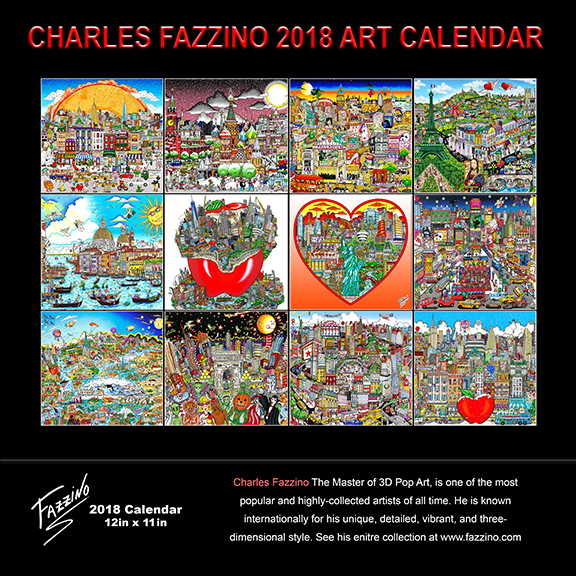 Back of Charles Fazzino's pop art calendar for 2018