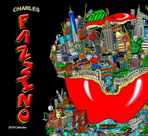 2018 Charles Fazzino wall calendar - iconic NYC red apple with city skylines