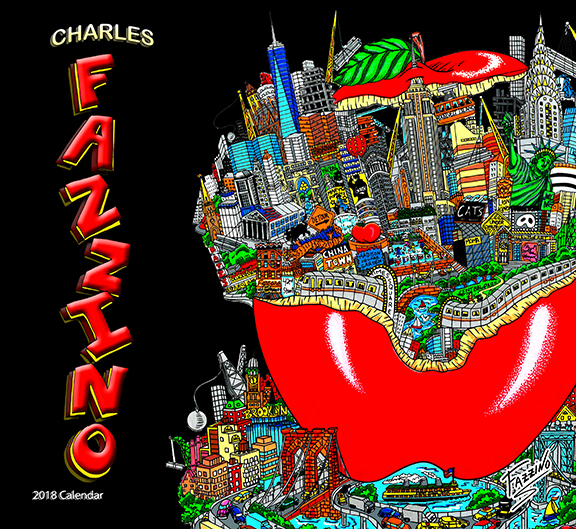 Pop art drawing of New York City cityscape within a big red apple - 2018 Fazzino calendar