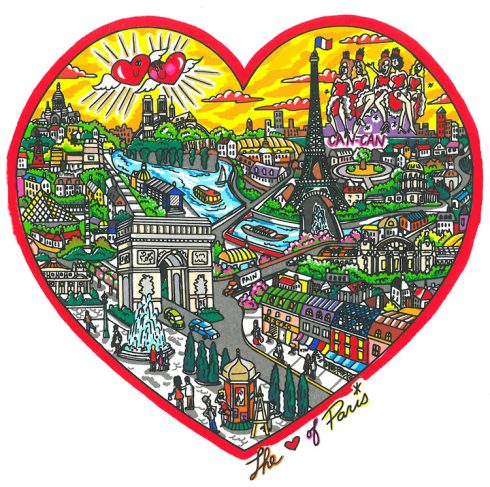 Pop Art Paris skyline done by Charles Fazzino - The Heart of Paris, Released in 2011