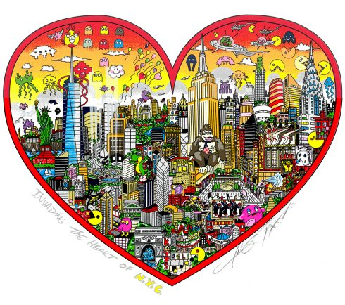 A Fazzino New York cityscape filled with colorful pop culture icons from childhood video games.
