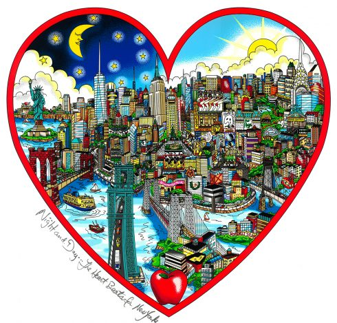 New York City night and day, 3D pop are piece done by Charles Fazzino - Night and Day the Heart Beats for NY