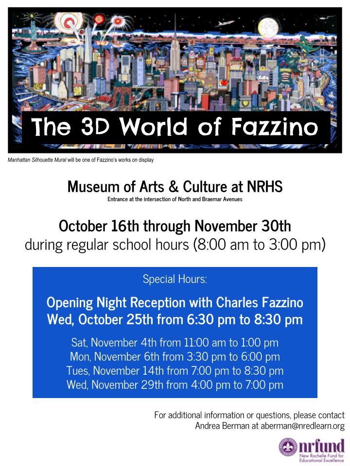 Charles Fazzino and NRFund flyer for Museum of Arts and Culture in New Rochelle