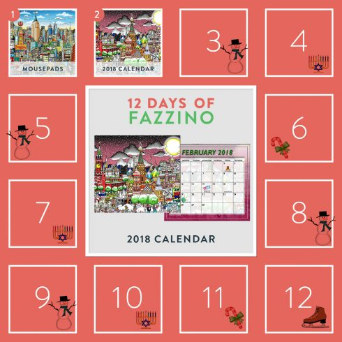 On The Second Day Of Fazzino 2018 Fazzino Pop Art Wall Calendar