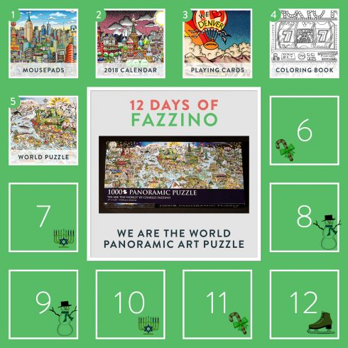 1000 piece world puzzle by Charles Fazzino - 12 Days of Fazzino calendar card