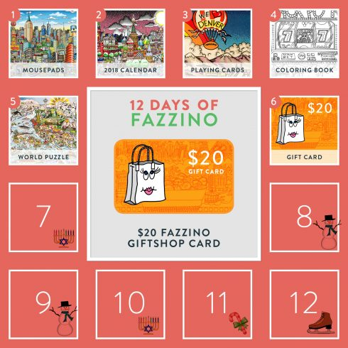 12 Days of Fazzino calendar card - 20$ gift card to Fazzino Giftshop