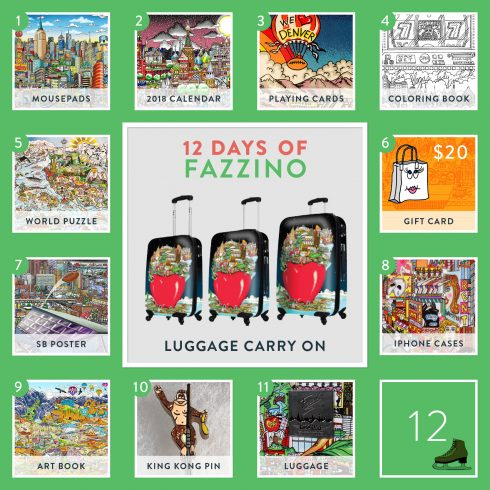 12 Days of Fazzino calendar card Luggage giveaway