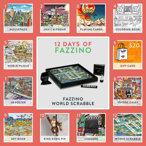 12 days of Fazzino calendar card - world scrabble giveaway