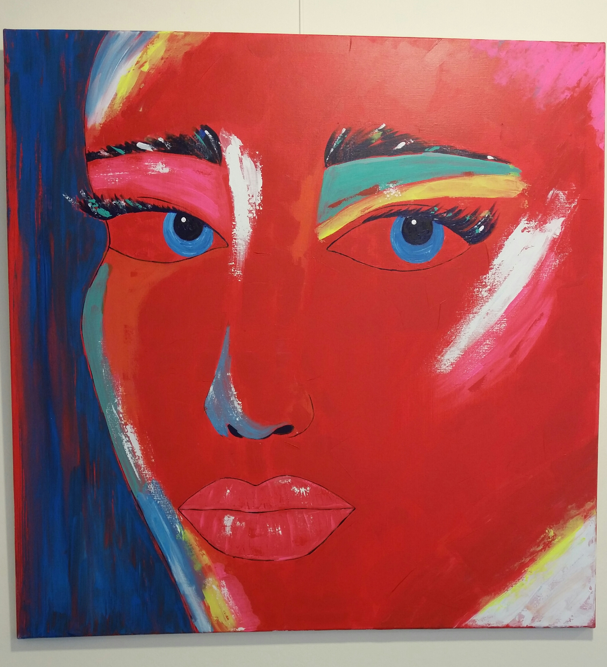 Abstract painting of an womans face by Melek Toraman