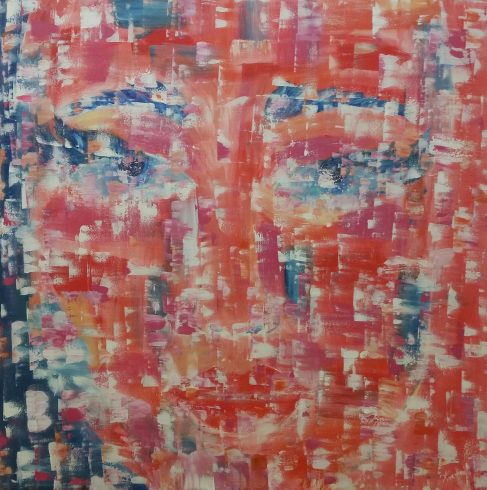 Abstract painting of a red womans face done by Melek Toraman