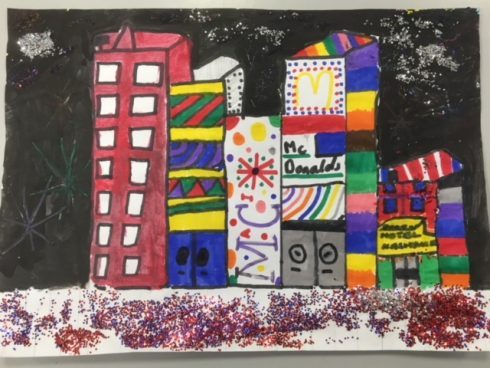 Mardrid cityscape with fireworks - New Years Celebration Art Challenge by Fazzino