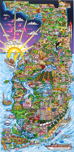 Along the Sunshine State pop art piece by charles fazzino