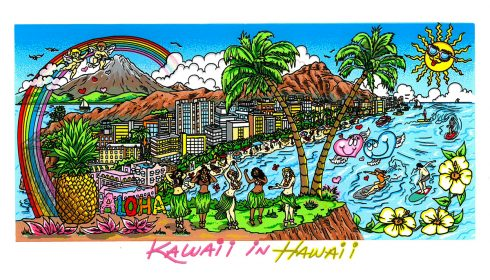 Rainbow over a cityscape with volcanoes in the background - Kawaii in Hawaii pop art piece done by Charles Fazzino