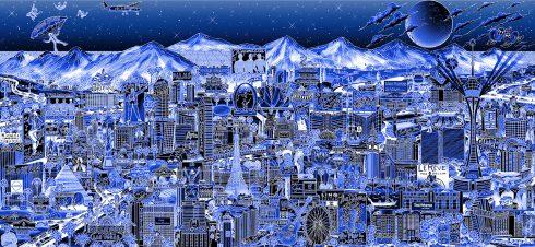 Midnight in Vegas! AP Blue Aluminum Edition by Charles Fazzino