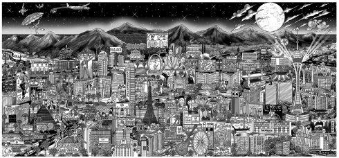 Midnight in Vegas! Premier Aluminum Edition in black and white by Charles Fazzino