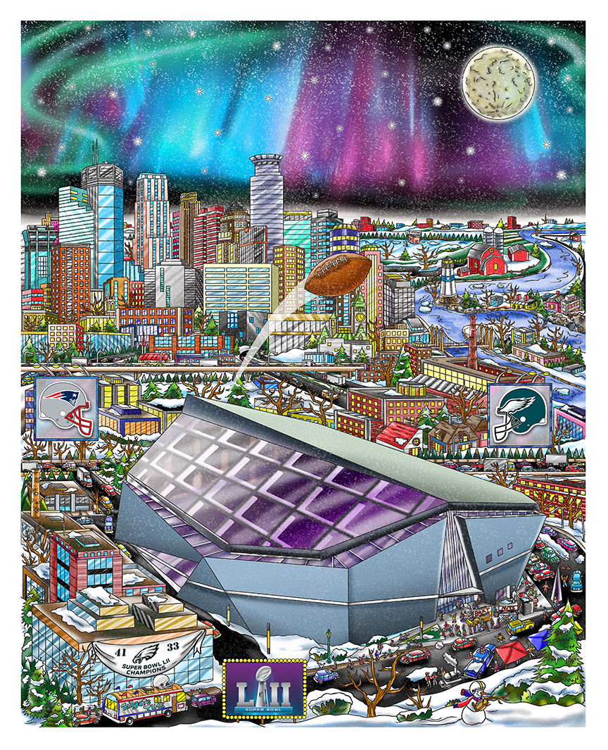 Minneapolis Stadium with the aurora lights - Super Bowl LII Poster Print by Charles Fazzino