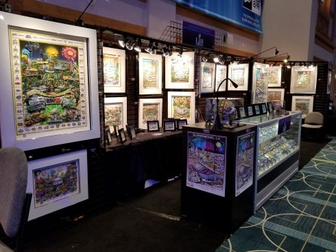 The Fazzino Super Bowl art exhibit at The Super Bowl Experience