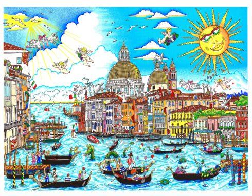 The Sun Rises Over Venice ( Il Sole Brilla Su Venezia) pop art piece by charles fazzino