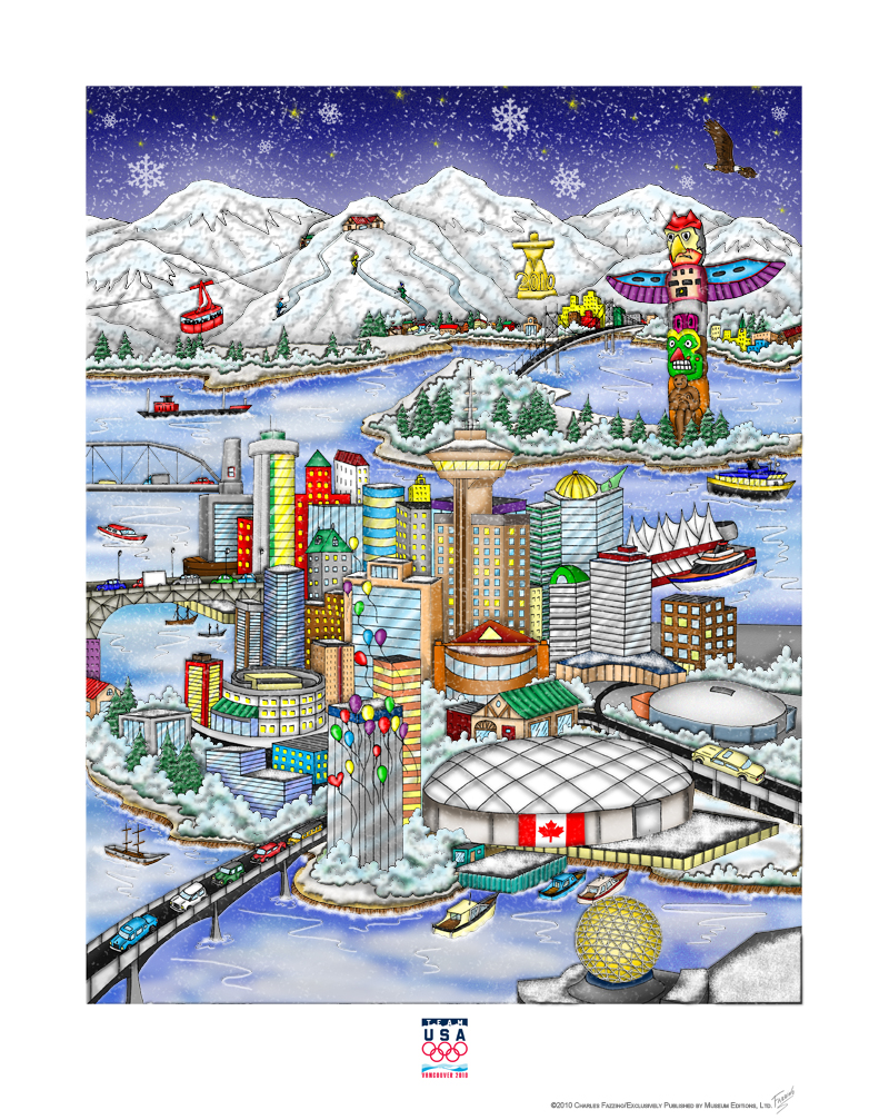 Pop Art Piece done by Charles Fazzino of the Olympic Games, 2010, Vancouver, Canada