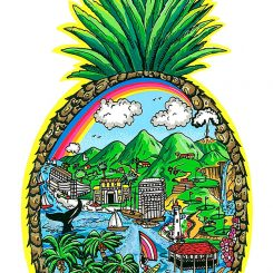 Artwork of a giant pineapple with the ocean, boats, mountains and palm trees