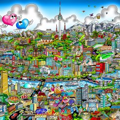 It's Happening in Seoul artwork featuring a cityscape with iconic landmarks