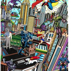 Artwork Superman Saves the day featuring the NY cityscape with the caped figure hovering in the sky