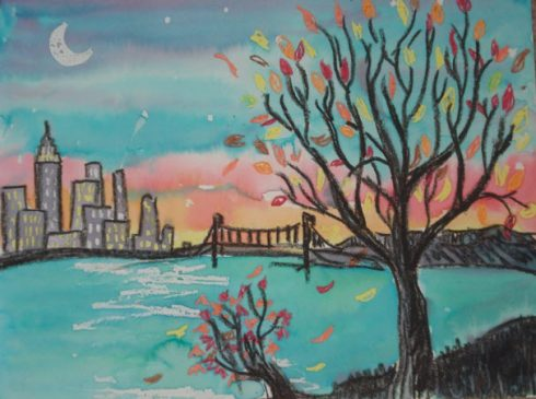 An example of a crayon resist watercolor showing a river, cityscape and giant flowering tree in the foreground