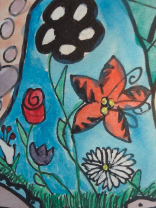 Watercolor red, orange and purple flowers on a blue background
