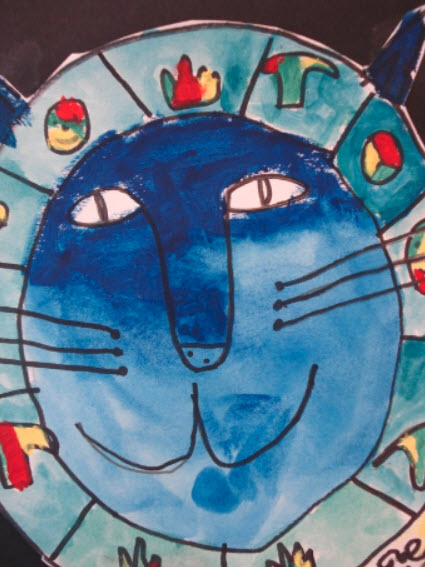 A blue faced cat with icons surrounding its head shows a crayon watercolor salt resist art example