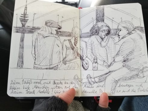 A sketch of four men and women sitting on a rock wall near a bridge in Germany - Urban Sketchers society