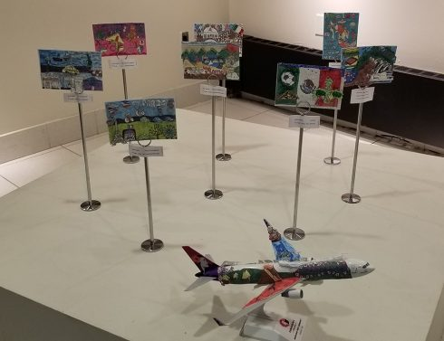 Fazzino inspired 3-D Pop Airplane Artwork at the MAC Gallery in New Rochelle