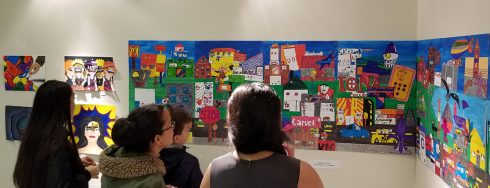 People viewing Fazzino inspired 3D pop art works at MAC Gallery in New Rochelle