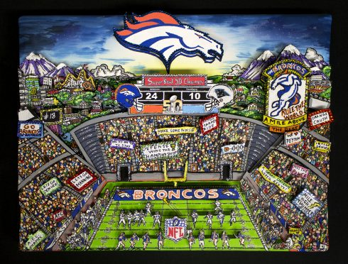 Denver Broncos football stadium 3d pop art done by Charles Fazzino