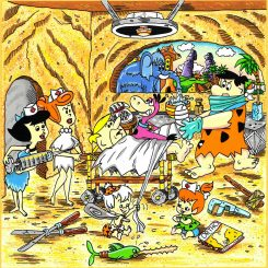 Fred plays the surgeon to Barney's patient in this whimsical version of the Flintstones by Charles Fazzino.