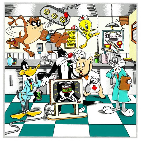 """""""A Looney Doctor Visit"""" Uh-Oh Poor Sylvester! Let's hope B.Bunny, MD. and his friends Daffy Duck, Tweety Bird, Porkey Pig, and Tazz can find a way to cure that belly full of tuna!"""