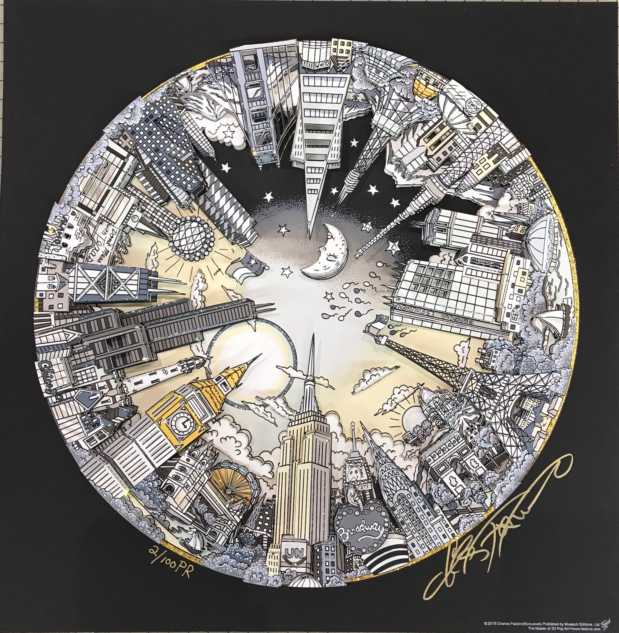 The World Goes Round and Round metallic silkscreen by Charles Fazzino (Premiere Edition Size: 100PR)