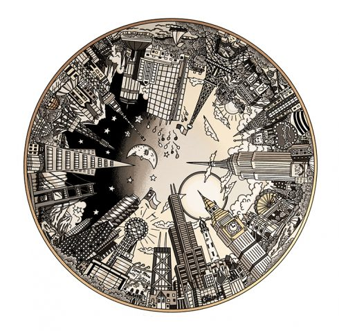The World Goes Round and Round metallic silkscreen by Charles Fazzino