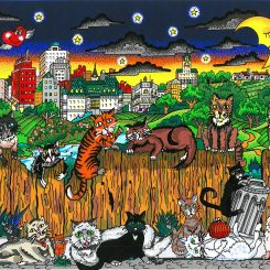 3D pop art about cats serenading the moon