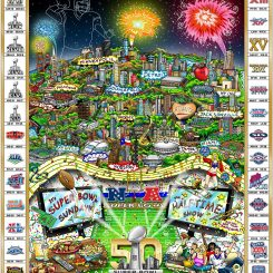 Artwork commemorating all 50 Super Bowls including all game logos and the venues where the game has been played