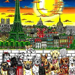 3D pop art of dogs in Paris with the Eiffel Tower and a big bright moon.