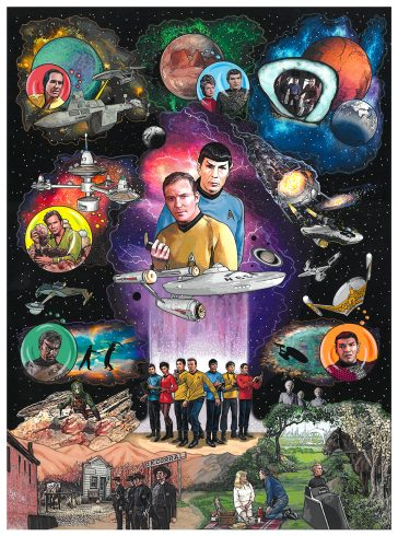 Star Trek artwork featuring Captain Kirk and Spock in space along with the crew of the USS Enterprise