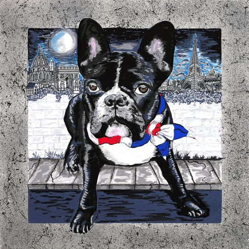 A black and white dog with a red white and blue bandanna with the Eiffel Tower and Paris skyline in the background - Olivier in Paris done by Charles and Heather Fazzino